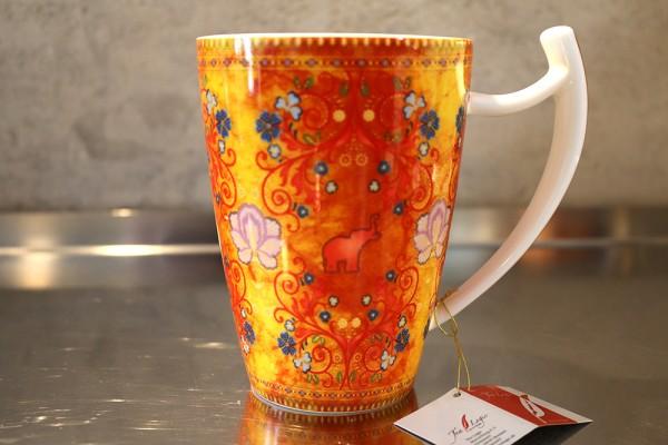Becher / Mug Happy Orange Elephant; 0,50l (Fine Bone China)